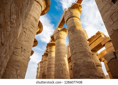 Karnak Temple in Luxor, Egypt. The Karnak Temple Complex, commonly known as Karnak, comprises a vast mix of ancient temples, chapels, pylons and statues from the ancyent Egyptian Civilization