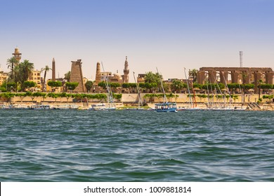 Karnak temple at Nile river in Luxor, Egypt