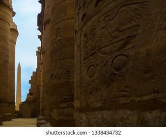Karnak temple obelisk in Luxor Egypt. Hieroglyphs - Egyptian writing.