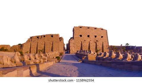 Karnak Temple sphinxes alley on a white isolated background