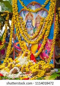 Karnataka, India November 15th 2009 – A painting of the Hindu gods Lakshmi-Narayana at a temple.