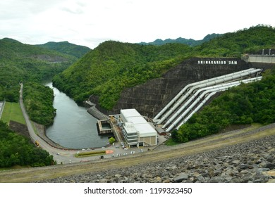 KARNCHANABURI, THAILAND - SEPTEMBER 17,2018 - Hydroelectric Power Plant of Srinakarind Dam