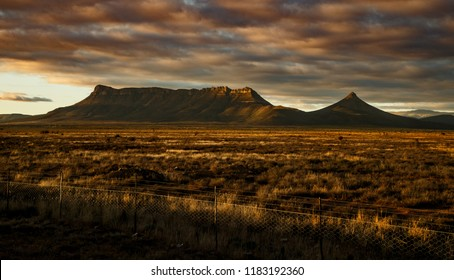 Karoo mountain landscape at sunset