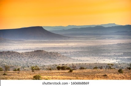 Karoo Plateau. Arid  landscapes as far as the eye can see in every direction show the effect of extended drought. Some parts of the Karoo have not seen rain for seven years or more.