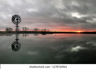 Karoo Windmill at Sunset