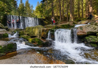 KARPACZ, LOWER SILESIA PROVINCE, POLAND - SEPTEMBER 26, 2020: A dam called Wild Waterfall. Town of Karpacz, Giants Mountains range (Karkonosze).