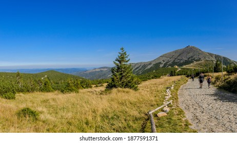 KARPACZ, LOWER SILESIA PROVINCE, POLAND - SEPTEMBER 22, 2020: A Hiking trail in Giants Mountains ridgeleading to the Sniezka Peak.