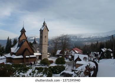 Karpacz, dolnośląskie voivodeship, Poland - March 6th 2016: Vang stave church.