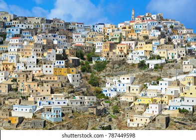 Karpathos island Dodecanese, Greece. August 3, 2014. Landscape with traditional colorful old houses in Karpathos island Dodecanese, Greece.