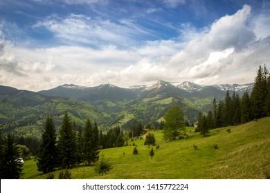 karpaty mountain nature landscape summer trees sky blue