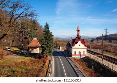 """Karpaty railway station - a train stop point near the famous Schonborn Castle, former residence and hunting lodge of Count Schonborn, and since 1946 - sanatorium """"Karpaty"""""""