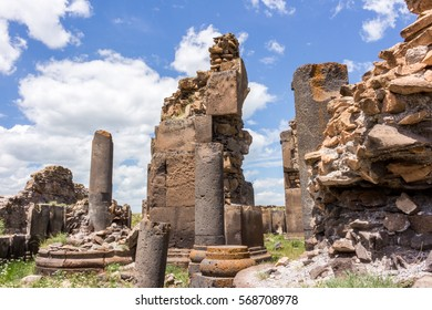 Kars City, Turkey - June 3, 2016: Historical Ani ruins, in the spring and natural landscapes. Ani is a UNESCO World Heritage Site.