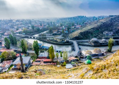 Kars City view from Kars Castle in Turkey