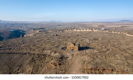 Kars, Turkey, Ani Site of Historical Cities (first entry into Anatolia, the Silk Road, an important trade route in the Middle Ages) aerial imaging.