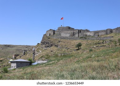 KARS, TURKEY - AUGUST 03, 2018: View over the castle of Kars, in Kars, Turkey. Kars is a province in the Northeastern Turkey, close to the Armenian border.