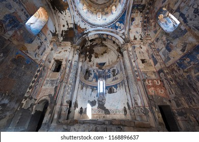 Kars, Turkey - August 10, 2018 - Interior of the Church of Tigran Honents in the ruins of Ani, capital of ancient Armenian Bagradit Kingdom, in Kars, Turkey