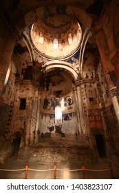Kars, Turkey - August 20, 2018: Ani ruins in Kars. Image from inside the historical church