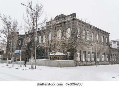 KARS, TURKEY - JANUARY 2016; Streets and buildings under snow in Kars city of Turkey during winter.