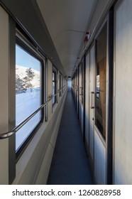 Kars, Turkey - January, 2018: Inside of  Ankara-Kars (Diesel Train) Eastern Express train in winter with sunrise. The travel of Eastern Express (Dogu Ekspresi) takes 24 hours between Ankara and Kars.