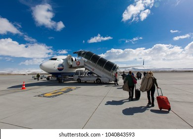 Kars, Turkey - March 07, 2017: People are entering to Sunexpress flight to Izmir on March 07, 2017 in Kars airport - Turkey.