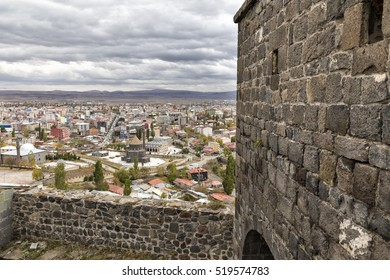 KARS, TURKEY - OCTOBER 16, 2016: High angle view of Kars city through the castle of Kars. Kars is a city in northeast Turkey and the capital of Kars Province.