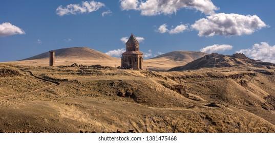 KARS, TURKEY - OCTOBER 6: Historical Ani ruins on October 6, 2018 in Kars, Turkey. Ani is since 2016 a Unesco World Heritage Site.