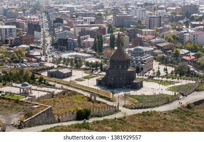 KARS, TURKEY - OCTOBER 8: View of the city center from castle on October 8, 2018 in Kars, Turkey. City is a city in northeast Turkey and the center of Kars Province.