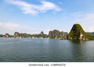 Karst formations in Halong Bay, Vietnam, in the gulf of Tonkin. Halong Bay is a UNESCO World Heritage Site and the most popular tourist spot in Vietnam.