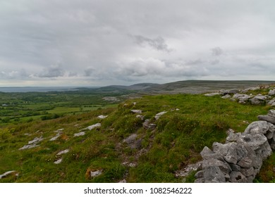 The karst landscape of The Buren north of the Cliffs of Moher in County Clair along Galway Bay.