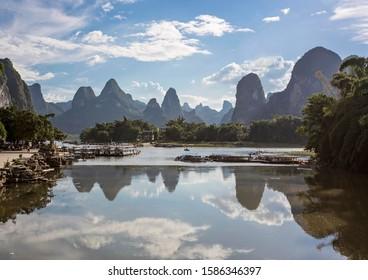 Karst Mountain landscape in Guilin, China. Xingping Town, Fishing Village, Guangxi