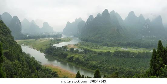 Karst mountains around Li river from Tangjiao nunnery, Guangxi province, China