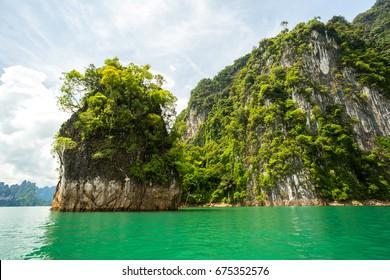 Karst mountains of lake Cheo Lan in Thailand