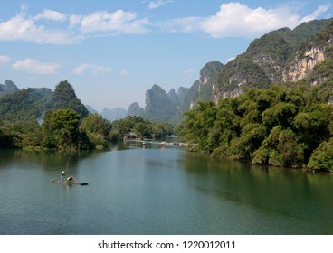 Karst mountains and limestone peaks of  Yulong River, Yangshuo, Guilin,  China