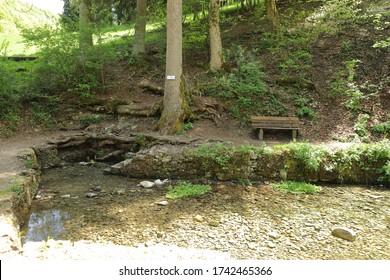 Karst spring of river Fils near Wiesensteig in Germany