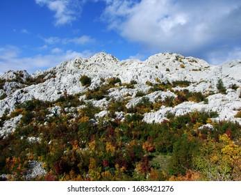 Karst Velebit landscape along the Majstorska road and saddle Mali Alan - Croatia (Krski velebitski krajobraz uz majstorsku cestu i prijevoj Mali Alan, Velebit - Hrvatska) - Shutterstock ID 1683421276
