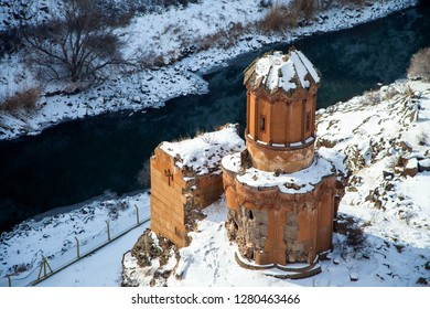 Kars,Turkey - 01/28/2016: Ani Ruins, Ani is a ruined and uninhabited medieval Armenian city-site situated in the Turkish province of Kars