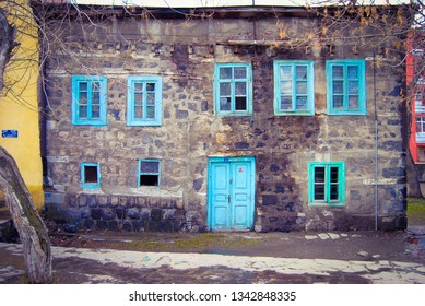 Kars/Turkey-February,2013:Historical Kars Houses. Most of the buildings in Kars City Center were built by Russians at the Beginning of the 19th Century.Currently, some of them have been Restored.