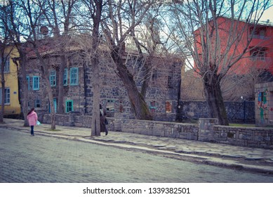 Kars/Turkey-February,2013:Historical Kars Houses.Most of the building Kars City Center were built by Russians at the Beginning of the 19th Century.Currently some of them have been Restored.