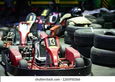 Kart racing or karting of motorsport road racing