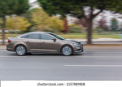 Kartal / Istanbul / Turkey 11.11.2019 A car driving fast through the trees
