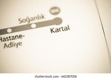 Kartal Station. Istanbul Metro map.