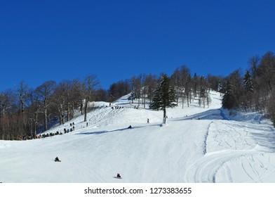 Kartepe, Kocaeli, Turkey. Snowy mountain landscape.