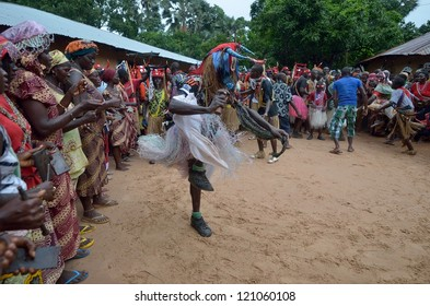 KARTIAK,SENEGAL-SEPTEMBER 18: people dance in the ritual of Boukoutt of Initiation ceremony on September 18, 2012 in Kartiak,Senegal.The ceremony occurs every 30 years and celebrates boys becoming men