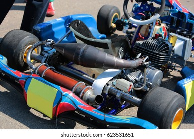 Karting close-up, part karting. Racing karting