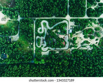 Karting gokart track green trees nature