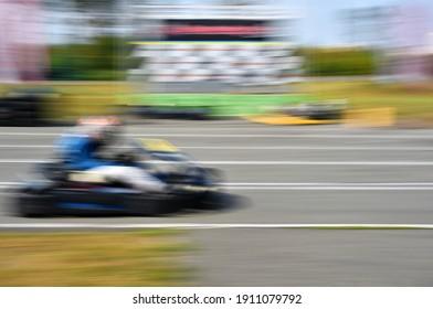 karting racing in blur motion