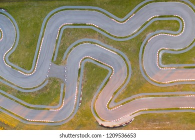 Karting track view from above. Extreme sports background. Winding track for auto racing.