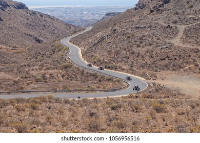 Karts driving on a public road in Gran Canaria