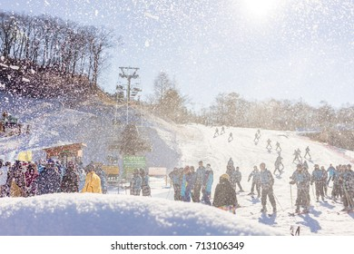 KARUIZAWA, JAPAN - DECEMBER 8, 2016: Many people enjoy on the snow and ski slopes . Karuizawa is one of the few ski resorts in Japan.