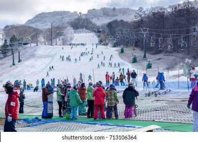 KARUIZAWA, JAPAN - DECEMBER 8, 2016: Many people enjoy on the snow and ski slopes . Karuizawa is one of the few ski resorts in Japan.